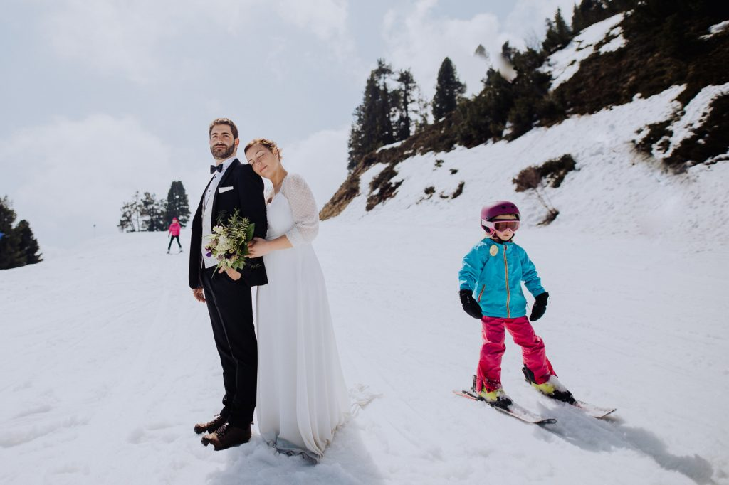 Honeymoon wedding shoot in the snow in the Austrian Alps by Wild Connections Photography