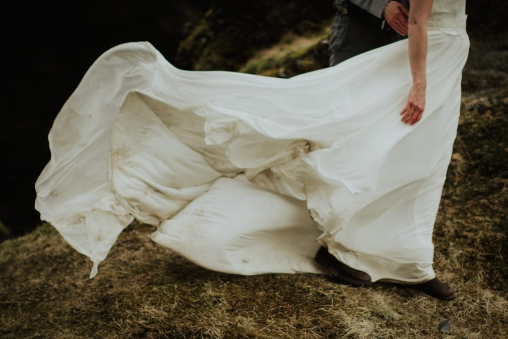 Wedding Dress blowing in the wind by Wild Connections Photography